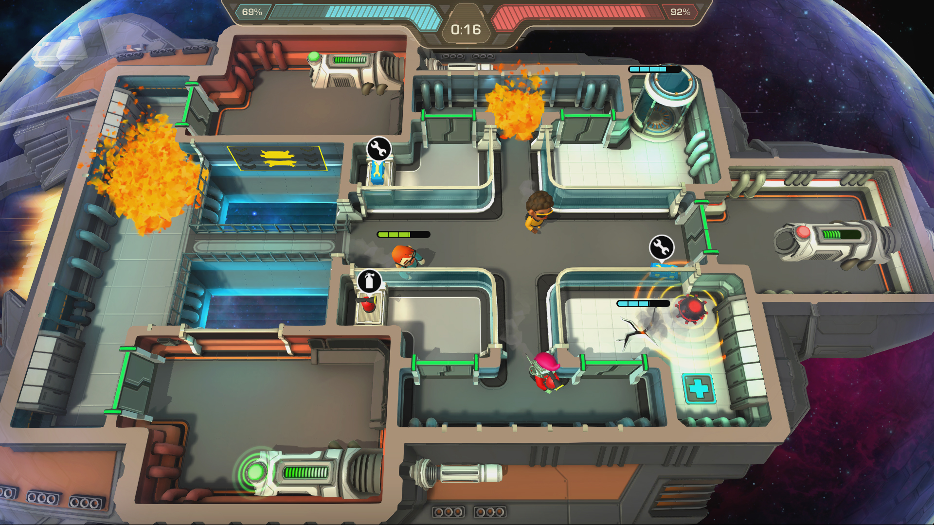 Screenshot of a level in the game, with bombs, cracks and fire