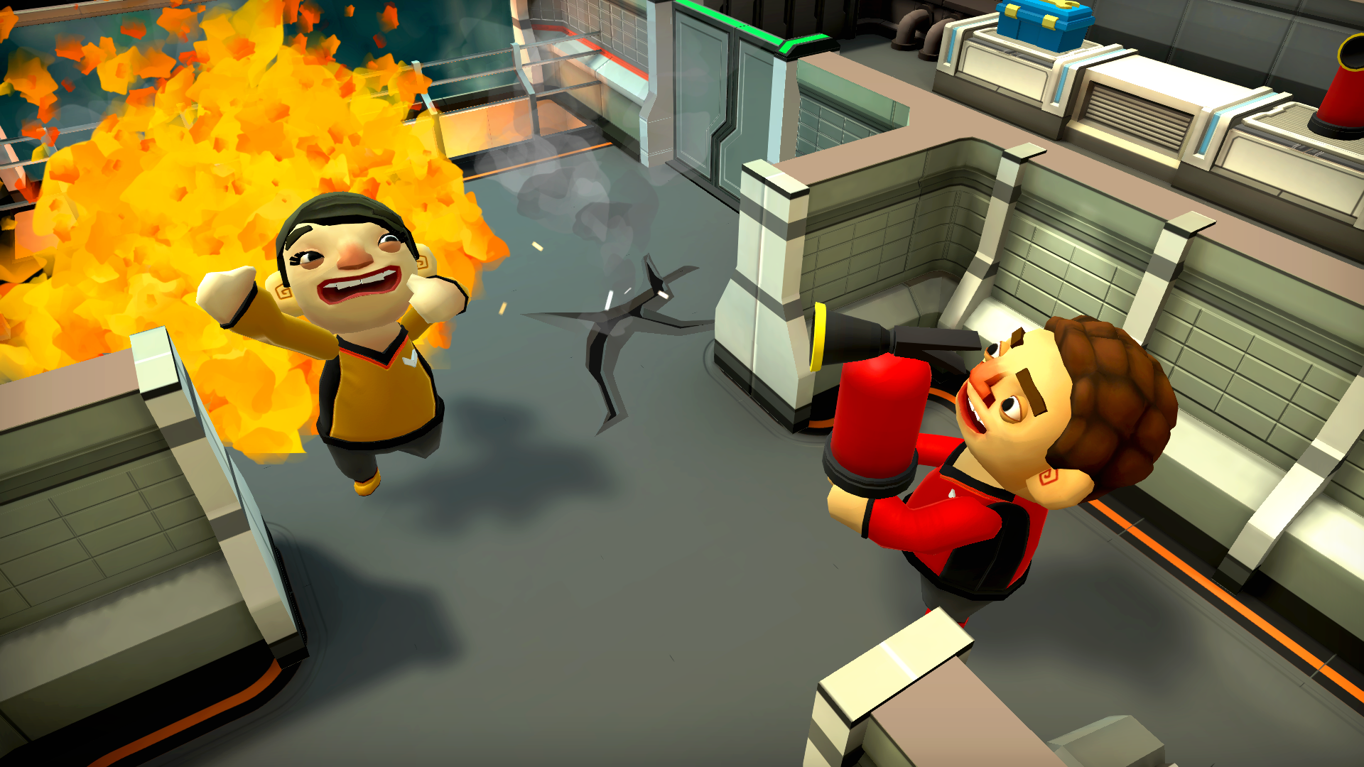 Close up shot of player putting out their fellow Catastronaut, who is on fire