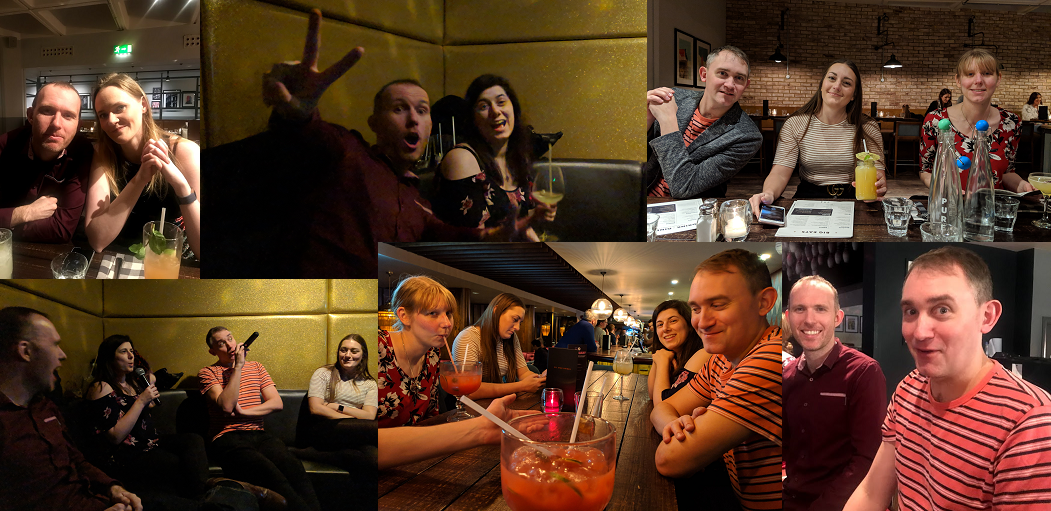 Collage: 1 Lucy and Greg smiling at a table with cocktails, 2 Greg making a peace sign in gold room as Laura smiles with a cocktail, 3 Graeme, Lauren and Kim smiling at table with cocktails, 4 Greg and Lauren smile as they watch Graeme and Laura sing, 5 Kim, Lauren, Laura and Graeme around a table with cocktails, 6 Greg smiling while Graeme looks surprised