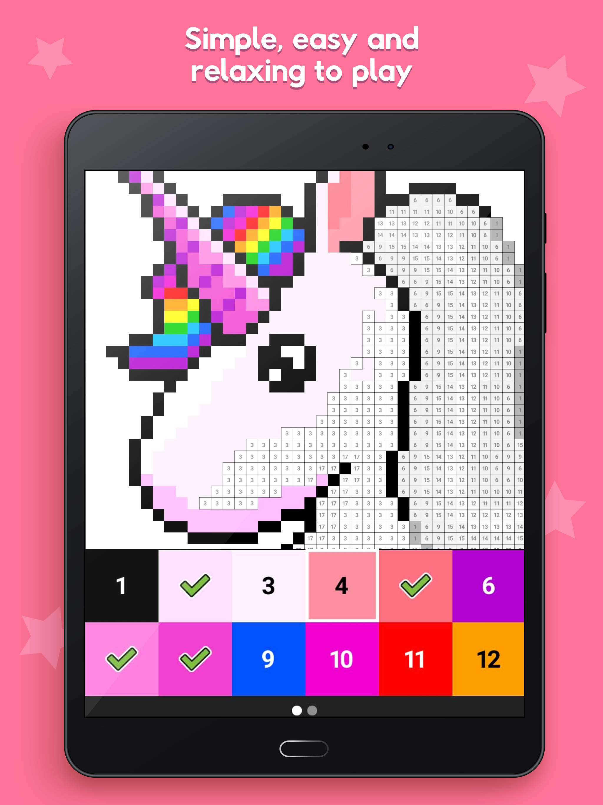 Partially completed pixel pattern of a unicorn with rainbow mane, on a tablet screen. Words at the top read 'Simple, easy and relaxing to play'
