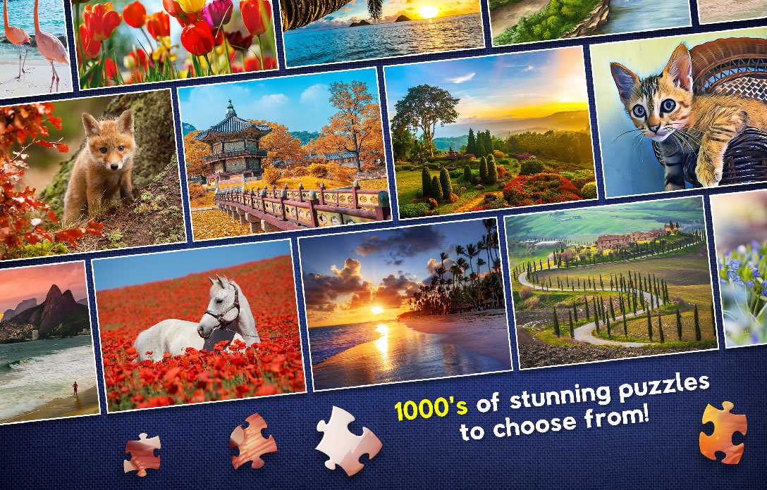Lots of images in rows, with scattered jigsaw pieces below and the words '1000's of stunning puzzles to choose from'