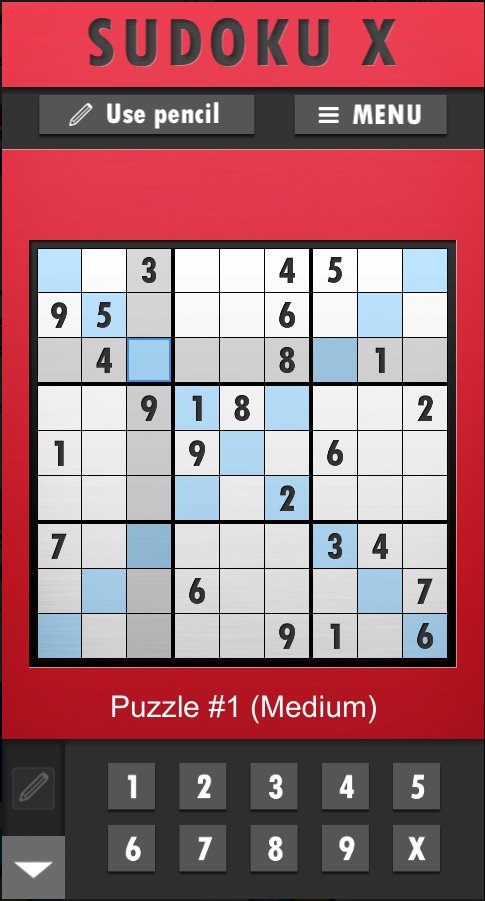 Screenshot of SUDOKU plus - a Sudoku X is open