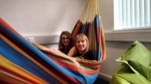Kim and Alice relaxing in our hammock