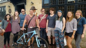 Everyone posing for a photo outside of Oliver Cromwell's house