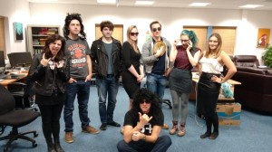 Everyone dressed up for our rock band themed murder mystery night